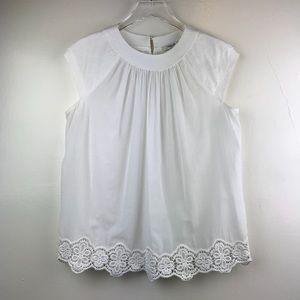Madewell White Cotton Blouse with Lace Hem XSMALL